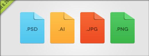 各種ファイル用のフラットアイコン