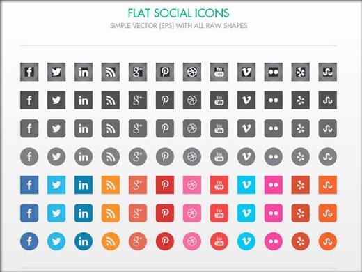 色んな形のソーシャルメディア用アイコン