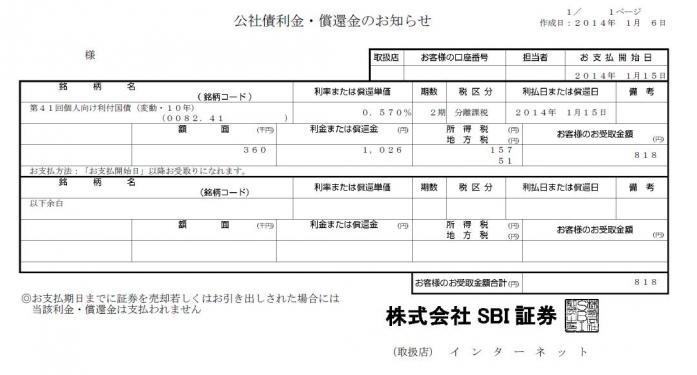 配当金(2014.1.15)
