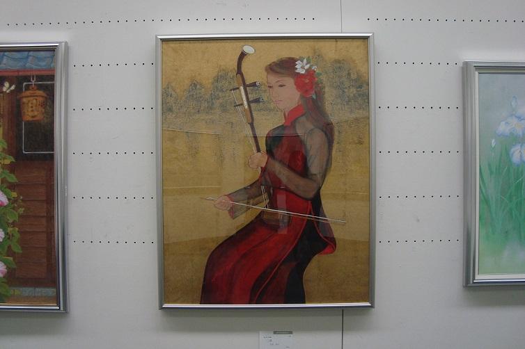 日本画『二胡』