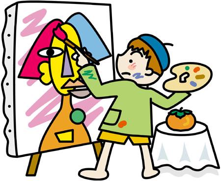 絵を描く少年