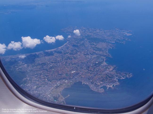 上空から見た神奈川県の三浦半島。