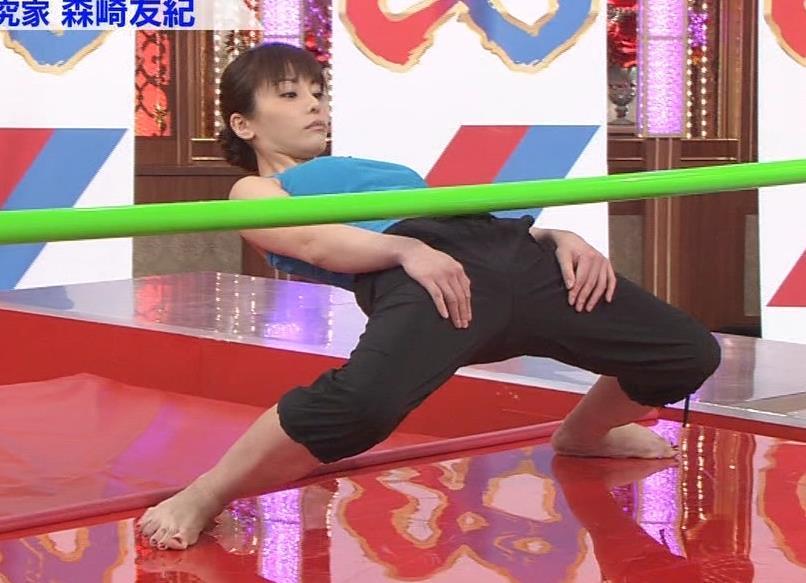森崎友紀 リンボーダンスで大股開きキャプ画像(エロ・アイコラ画像)