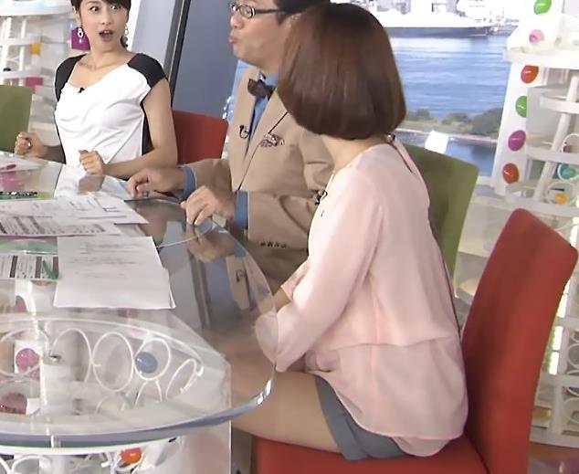 山崎夕貴 短パン太もも(めざましテレビ)キャプ画像(エロ・アイコラ画像)