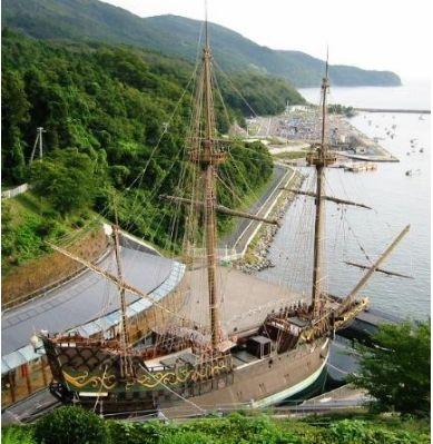 支倉常長の船サン・バティスタ号を復元した帆船 常長の故郷、宮城、石巻のテーマパーク